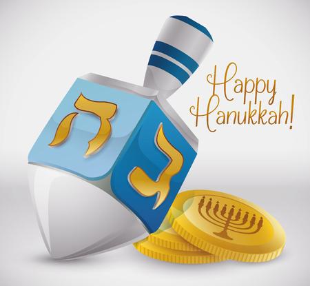 Silver dreidel with  golden symbols and golden gelts for Hanukkah
