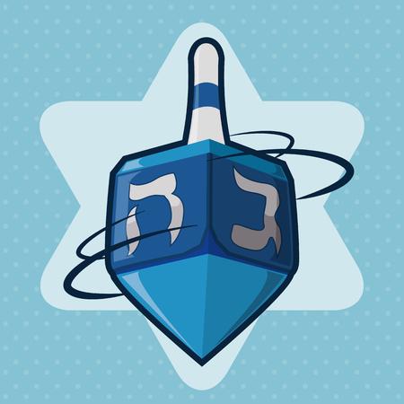 Blue dreidel spinning with Davids Star background Illustration