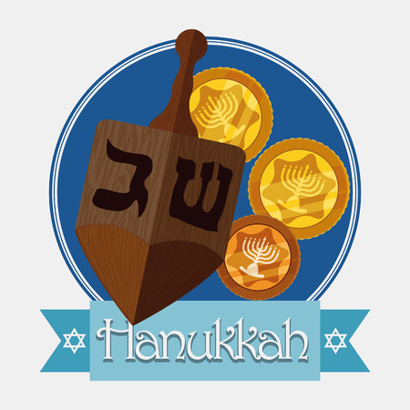 gelt: Wooden dreidel with gelts and blue ribbon with Hanukkah message