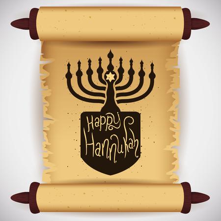 chanukiah: Unrolled torah scroll with Hanukkah elements mixed Illustration