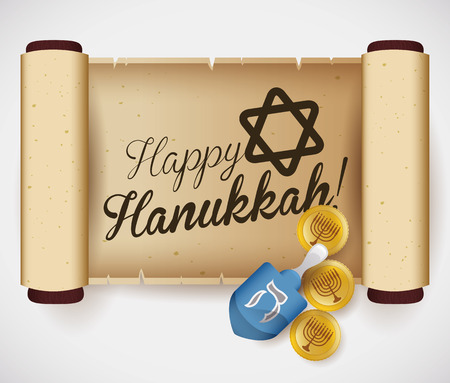 chanukiah: Unrolled scroll with dreidel and gelts for kids wishes and games Illustration