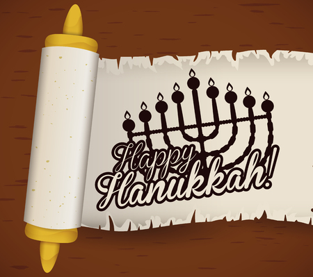 chanukiah: Scroll with greeting message for Hanukkah Illustration