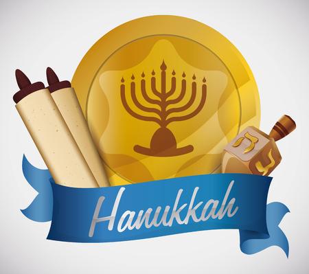 chanukiah: Gelt, scrolls and dreidel from Hanukkah over blue ribbon