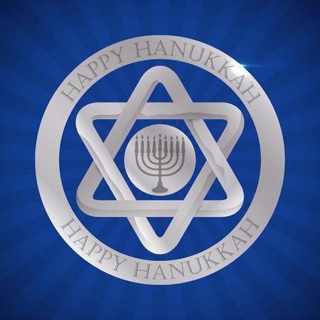 chanukiah: Silver Davids Star and Chanukiah for Hanukkah holidays Illustration