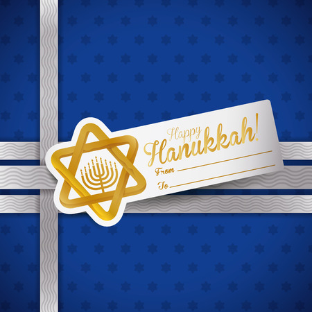 chanukiah: Hanukkah label with golden Davids Star and Chanukiah on starry blue paper gift