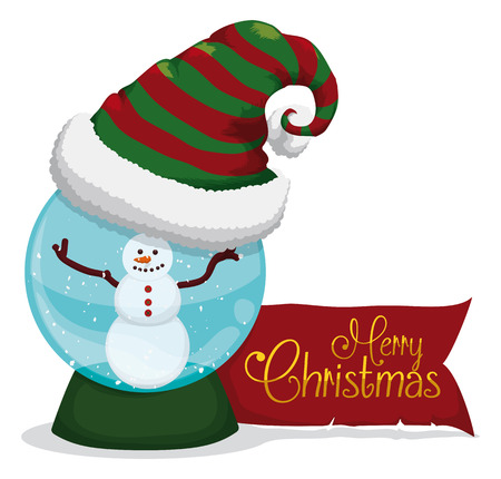 cartoon globe: Crystal ball with happy snowman and furry elfs hat for Christmas Illustration
