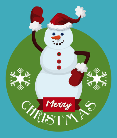 zanahoria caricatura: Smiling snowman with red Santas hat and gloves wishing you Merry Christmas Vectores
