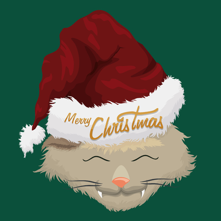 furry: Happy hairy kitty with furry Santas hat on green background