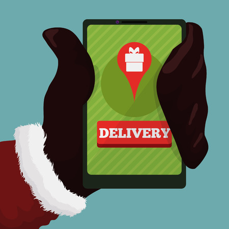 Delivery: Modern Santa Claus with smartphone and app for delivery gifts
