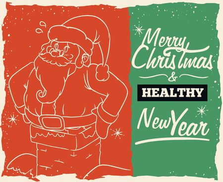 cartoon fireplace: Funny Santa jammed in the fireplace because he is too fat... and healthy New Year message