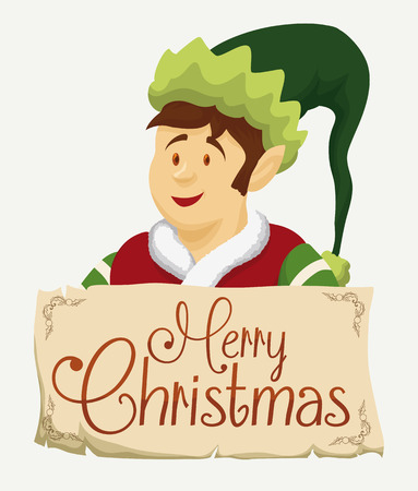 pointy hat: Santas elf with merry Christmas sign in scroll