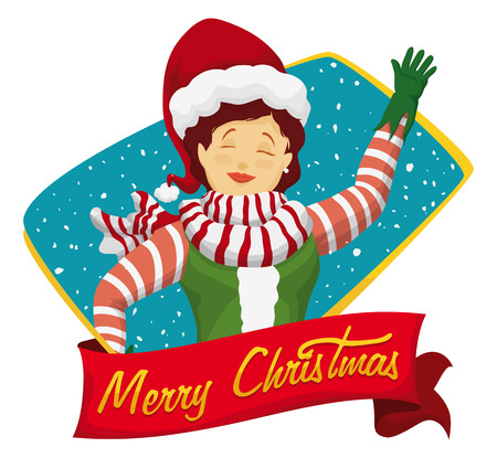 helper: Beauty Santas helper saluting you with red ribbon and Christmas message