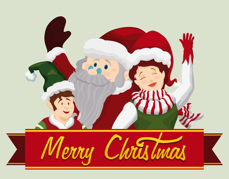 pointy ears: Santa and your helpers saluting with Merry Christmas sign in ribbon