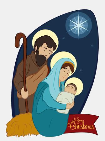 Holy Family under the David's Star light Illustration