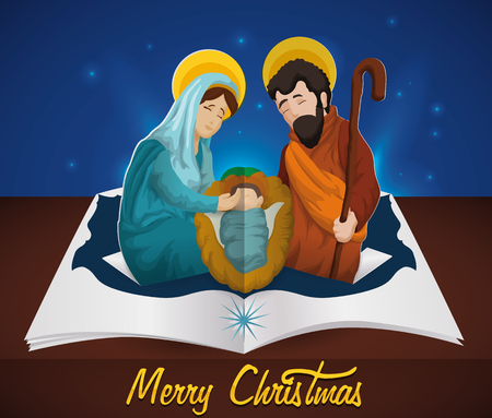 mo�os navidad: Holy Family in pop-up book under the night sky for Christmas season