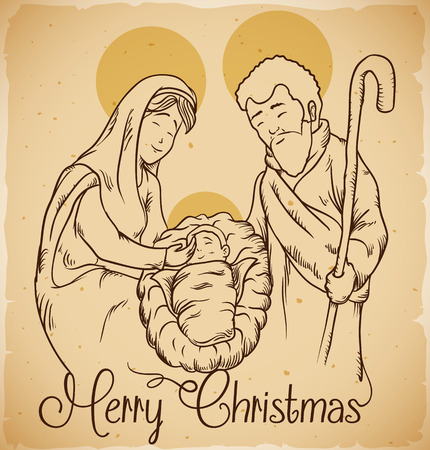 Nativity scene with the new born Jesus Christ and Mary and Joseph in-line style Stock Illustratie