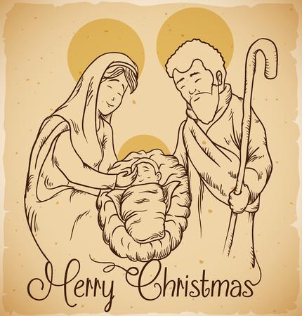 nascita di gesu: Presepe con il nuovo nato Gesù Cristo e Maria e Giuseppe lo stile in-line Vettoriali