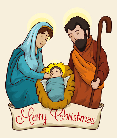 Nativity scene of baby Jesus in the manger with Joseph and Mary Illustration