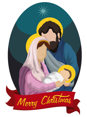 holy family: Nativity scene with the Holy Family with ribbon Illustration