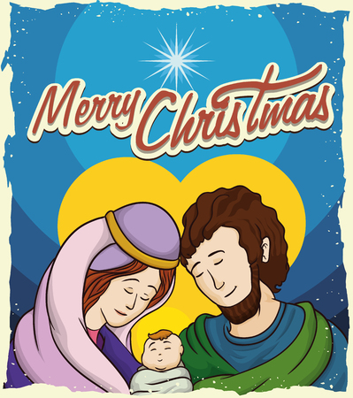 aureole: Caring Holy Family with the new born Jesus in Christmas postcard