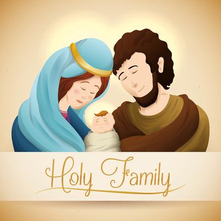 jesus mary joseph: Caring Holy Family with baby Jesus, Joseph and virgin Mary