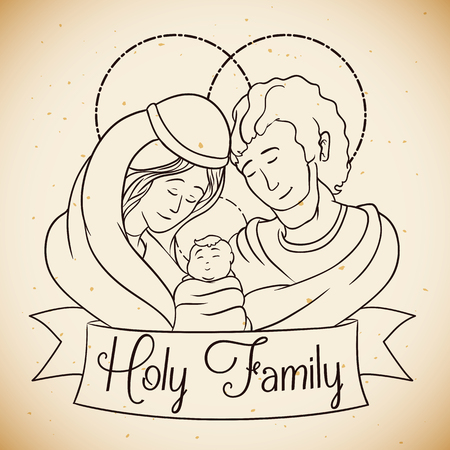holy family: Beauty Holy Family portrait in line style Illustration