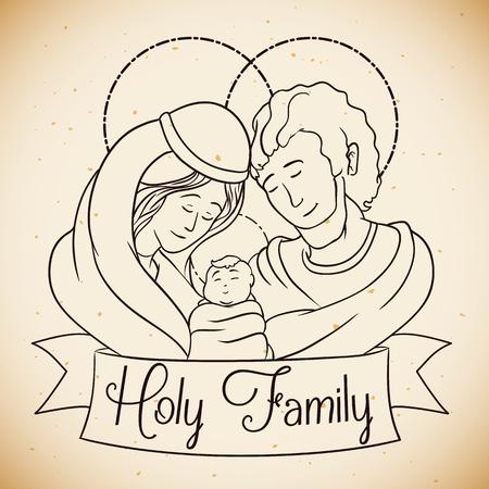sacra famiglia: Ritratto di bellezza della Sacra Famiglia di stile della linea