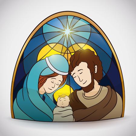 sacra famiglia: Bellezza Sacra Famiglia scena colorata in lucido oggetto vetro colorato