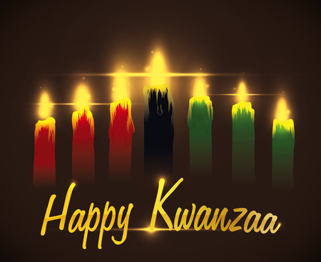 Kwanzaa candles lighted with golden greeting message