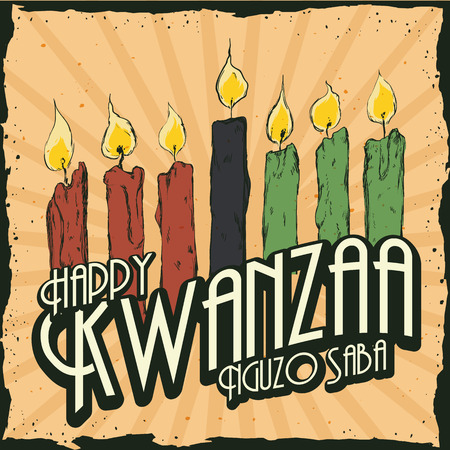 Kwanzaa candles in colorful retro poster