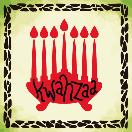 kwanzaa: Kwanzaa greeting message in painting with green background and frame