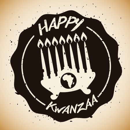 Kwanzaa kinara with Africa map and greeting message