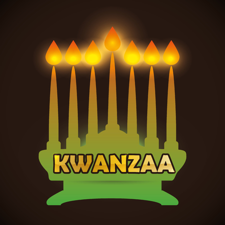 Kwanzaa kinara silhouette With All candles lighted in dark background