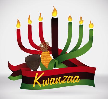 Kwanzaa kinara With traditional crop like flag and cup 矢量图像