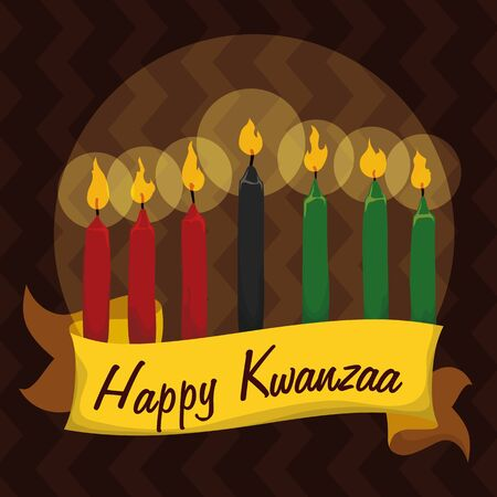 kwanzaa: Kwanzaa candles in colorful tribal background