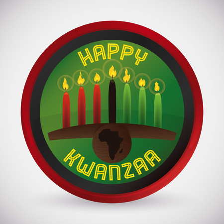 Interface button with traditional kinara and lighted candles for Kwanzaa