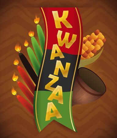 kwanzaa: Traditional Kwanzaa design elements in tribal on brown background