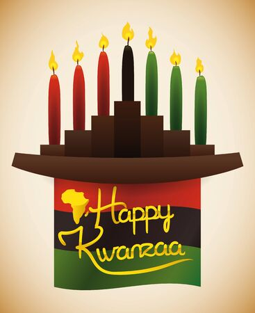 With traditional wooden traditional Kwanzaa kinara candles and greeting message