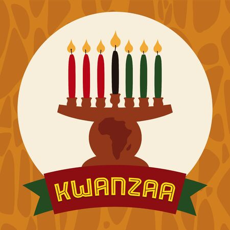 Kinara With lighted candles to celebrate Kwanzaa in flat colors