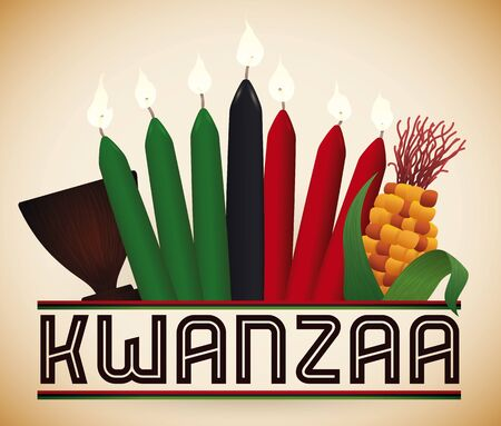 Kwanzaa traditional design with seven lighted candles, corn and wooden communal cup