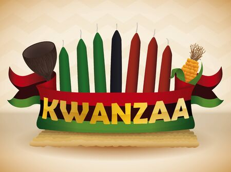 Traditional Kwanzaa candles colorful, cup, corn and flag on mat