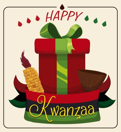 kwanzaa: Traditional Kwanzaa cup, corn and gift tied with traditional ribbon Illustration