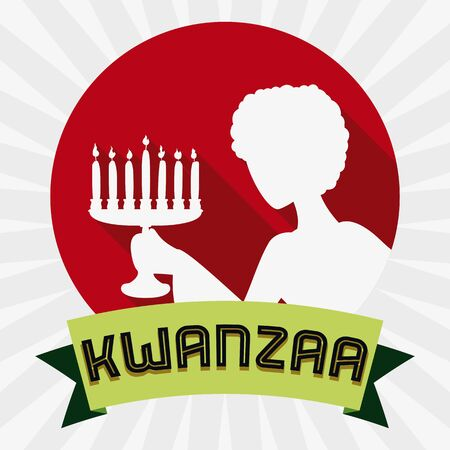 spiritual woman: Woman holding for Kwanzaa kinara holiday flat silhouette in style with ribbon