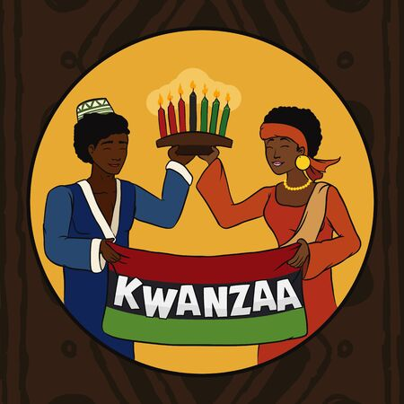 Girl and boy in traditional attire holding flag and Kwanzaa kinara