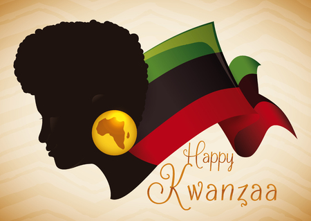 kwanzaa: Afro-American woman wearing earring silhouette With the map of Africa and traditional Kwanzaa flag