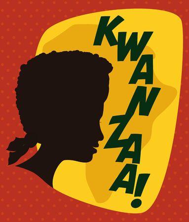 kwanzaa: Afro-American woman silhouette announcing Kwanzaa holidays