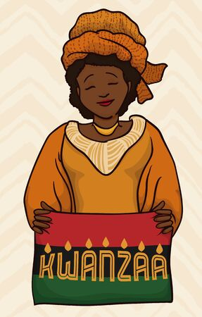 kwanzaa: Woman with traditional Kwanzaa garment and turban, holding lighted flag with message
