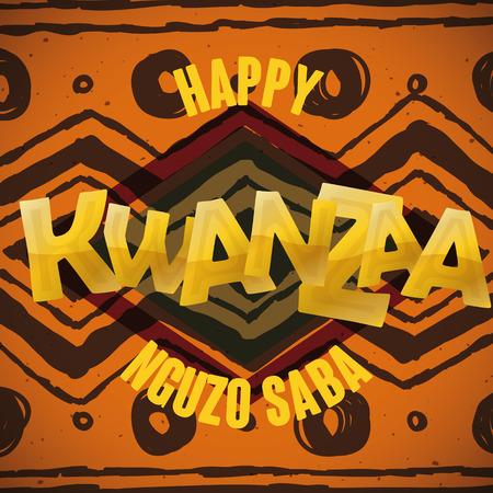 kwanzaa: Kwanzaa greeting message with golden background