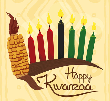 Traditional Kwanzaa elements with corn, candles and happy holiday message