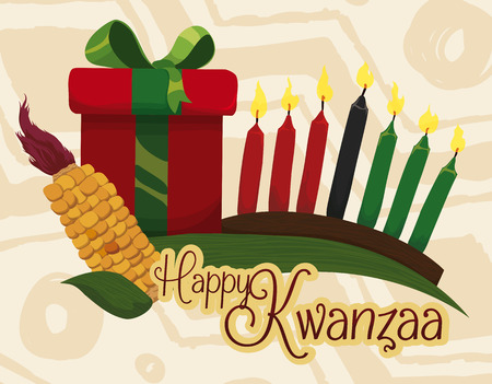 Kwanzaa Gift with traditional elements wishing you happy holidays